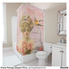 Shop Pretty Vintage, Elegant Victorian, Collage Shower Curtain created by longdistgramma.