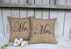 Love the texture of the burlap with the elegant stenciled Mr. & Mrs.