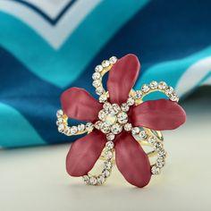 Red Flower Scarf Ring Slide