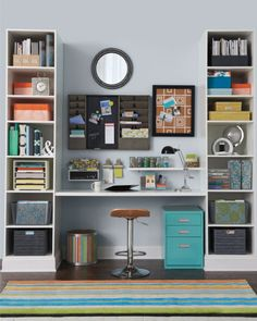 Just because it's an office doesn't mean it has to be decorated bland. Add color in accessories to brighten up your days! #organize #homegoodshappy