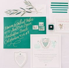 green stripes + crests via The Mrs. Box