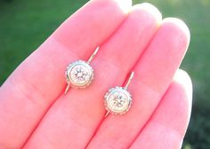 Large Diamond Drop Earrings Super Fiery Approx 1.80 by Franziska