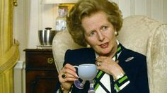 """Margaret Thatcher enjoying a moment with a Santino & Co Walking Pottery Funny Cup. Mrs Thatcher was quoted as saying """"I'll always argue if I don't get to use these Santino & Co cups. I love having a debate and I always expect my husband to agree with me, after all that's his job!"""" We don't need politics Maggie, it's a good cuppa were short of, and it tastes better sipped from a Santino & Co Funny Cup. Santino & Co, making today's collectables...tomorrow's antiques..."""