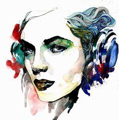 Hello DJ watercolor illustration