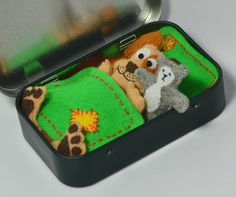Miniature Felt Dog Plush Playset in an Altoid Tin ( Mint ) with Teddy Bear and Bedding - Spotty Patch Beige