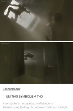 Kanan is in the light and Ezra is in the dark and Kanan is saving him.....l