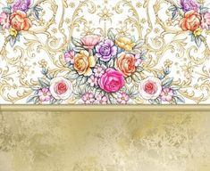 Template for greeting card with bouquet of roses by Maria Rytova  #pattern #textile #background #backing #paper #work #纹样 #damask #арт #картинки #picture #decoupage #декупаж #дамаск #узоры #barok #baroque #wallpaper #design #卷草 #flower #图案 #фон #print #принт #printable #papel #ornament  #seamless #golden #luxury #surface #rose #floral #decorative #decor #vintage #tile #бордюр #border
