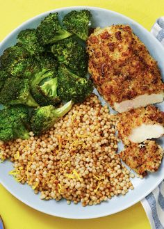"""Make crispy panko-coated chicken even more delicious by adding mozzarella cheese. """"And while the chicken is the main event, the sides are excellent accompanying acts. We're serving up savory, buttery couscous and crispy-edged roasted broccoli. New Recipes, Cooking Recipes, Dinner Recipes, Healthy Recipes, Clean Eating, Healthy Eating, Chicken Couscous, Hello Fresh Recipes, Couscous Recipes"""
