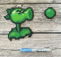 Repeater bead sprite. Plants vs Zombies, pea shooter, Perler beads, Hama beads, fuse beads, pixel art.