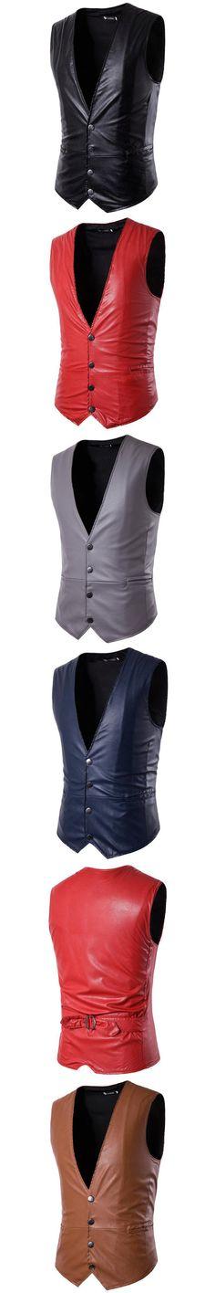 ZEESHANT Men's Boutique Autumn 2017 Slim Fit Leisure PU Suit Vest/male Gentleman Business Vest/male Black Vest Party Club