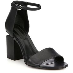 Alexander Wang Abby Tilt-Heel Leather Sandals (6.655 ARS) ❤ liked on Polyvore featuring shoes, sandals, black, heels, apparel & accessories, ankle strap heel sandals, black leather sandals, block heel ankle strap sandals, leather shoes and black shoes