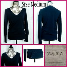 "Sz Med, Zara Knit Sweater Like new condition, worn 1 time! It is a dark navy blue with a v-neck and a button style on the sleeves.  This sweater is very very soft.    |   Measurements flat/unstretched - Bust (underarm to underarm)  20"", Length 27""   