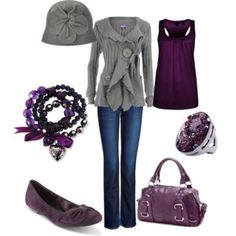 Plum and gray- love this look! That clouch hat is so cute.