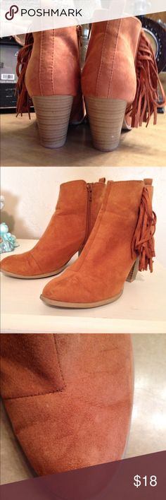 Fringe booties 3 inch heel booties. Great condition!  Color in between a rust and brown. Pics are true color. Shoes Ankle Boots & Booties