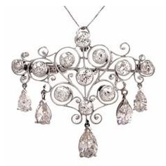 Belle Epoque Diamond Platinum Filigree Brooch Pendant
