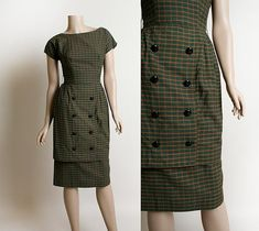 Vintage 1950s Dress - Dark Olive Green Plaid Tartan Wiggle Dress - Double Breasted Button Skirt Two Layered - XS by zwzzy