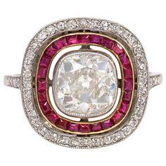 French Art Deco Ruby Diamond Ring of Cluster Design Ruby Diamond Rings, Art Deco Diamond, Diamond Cuts, Diamond Girl, Ruby Rings, Diamond Brooch, Ruby Jewelry, Pandora Jewelry, Fine Jewelry