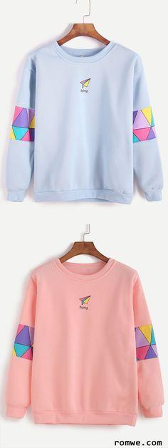 Pink & Blue Patchwork Print Sweatshirt from romwe.com