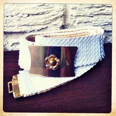 White Scale Sequin Stretch Vintage Belt with by RummageVintage, $14.00