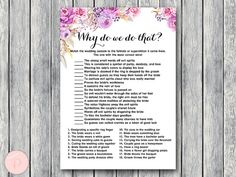 Purple Why do we do that Bridal Shower Game by BrideandBows
