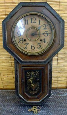 Wall Clock 昭和7年頃柱時計壁掛時計アンティーク昭和レトロ手巻き Watch Antique ¥35000yen 〆05月17日