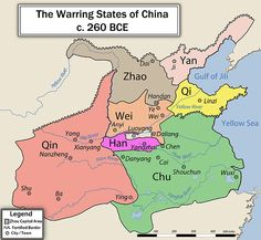 China during the Warring States Period (ca. 475 - 221 BC). Dominated by 7 rivaling states the period was  defined by annexations, expansions, shifting alliances and military conflict. The Warring States ended with  the final victory of the Qin and China's unification under Qin Shi Huangdi.