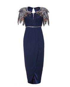 #evening #dress #navyblue #embellished #virgoslounge #fashion #photography