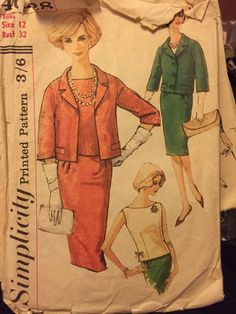 Vintage 1960s sewing pattern pencil skirt blouse and box jacket Simplicity VLV rockabilly S