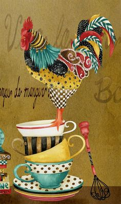 Rooster Whimsies,'Musical Rooster Pour Me Some Tea' by Jennifer Lambein Frames are decorative accessories that surround the moments you immortalize. Rooster Painting, Rooster Art, Rooster Decor, Tole Painting, Watercolor Paintings, Chicken Painting, Chicken Art, Arte Do Galo, Chickens And Roosters