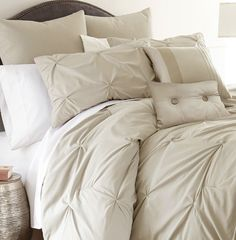 tan pintuck bedding