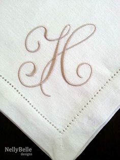 Monogrammed napkin. Over-sized taupe monogram on linen napkin. NellyBelle Designs