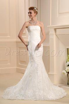 труба без бретелек кисть Поезд платье для невесты стили 10553733 - Труба / Русалка Свадебные платья - Dresswe.Com
