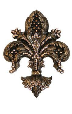 Carvings and sparkle gilt fleur de lis Decor Interior Design, Interior Decorating, Iris, Lilly Flower, Tuscan Style, Candleholders, Home Decor Wall Art, Drapery, Crosses