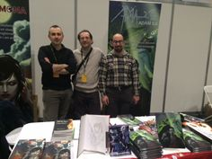 Author Giuseppe Di Bernardo, Publisher Giuseppe Pennestri' and translator Nigel Borg at #LSCC March 2015 Comic Conventions, Author, Comics, Fictional Characters, Comic Book, Comic Books, Fantasy Characters, Comic, Comic Strips