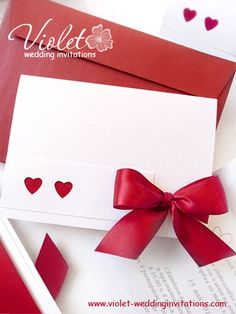 heart theme wedding invitation | dark red satin ribbon | #wedding #invitation from www.violet-weddinginvitations.com