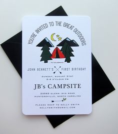 Camping Invitation - Tent Invitation - Birthday Party Invitation