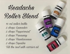 Here's one alternative roller blend recipe for headaches. All essential oils are part of the basic starter kit. Get to know more about the Young Living Essential oils and how to get them here:. Essential Oils For Migraines, Essential Oil Starter Kit, Essential Oils For Headaches, Essential Oils Guide, Essential Oil Diffuser Blends, Migraine Essential Oil Blend, Copaiba Essential Oil, Oil For Headache, Headache Relief