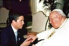 John Paul II & James Caviezel. The Pope loved Caviezel's movie (The Passion).
