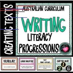 WRITING (Literacy) PROGRESSIONS - GRAMMAR Australian Curriculum These posters have been made to display the Literacy Progressions element of Writing - Creating Texts. Use as a bump it up wall. Included: Posters of All Progressions for - Primary Classroom, Classroom Decor, Primary Education, Writing Curriculum, Homeschooling, Visible Learning, Learning Support, Text Types, Learning Goals