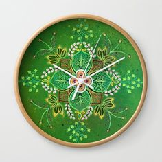 Leaf Wall Clock by laurafrere Clock, Leaves, Wall, Nature, Mandalas, Watch, Naturaleza, Clocks, Walls