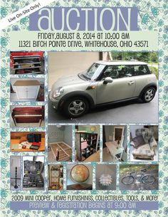 http://www.pamelaroseauction.com/11321BirchPointe.html#.U9fhIqivxJw  On-site Absolute Auction Friday, August 8, 2014 at 10:00 am 11321 Birch Pointe Drive, Whitehouse, Ohio 43571  2009 Mini Cooper and a house full of Collectibles and Home Furnishings One Day Only! View More Information At The Link Above Pamela Rose Auction Company, LLC www.pamelaroseauction.com (419) 865-1224