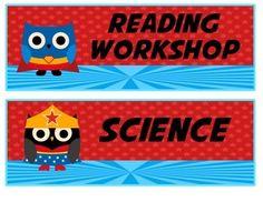 My Superhero Owl Daily Schedule Cards on Teachers Pay Teachers