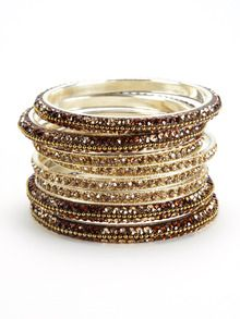 #GiftMe Gilt: Set Of 8 Brown & Gold Crystal Bangles by Chamak by Priya Kakkar at Gilt