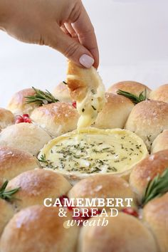 A festive pull-apart bread wreath with gooey baked Camembert center for dipping makes a stunning holiday appetizer and centerpiece. Baked Camembert Bread, Camembert Cheese, Camembert Recipes, Cooking Recipes, Bread Recipes, Roast Recipes, Rice Recipes, Potato Recipes, Yummy Recipes