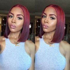 Cute Ombre Red Bob. Achieve this look with with Mayvenn's Blonde collection.