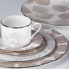 Floral Patina by Lenox has zinnias and hibiscus on the bone china pattern.