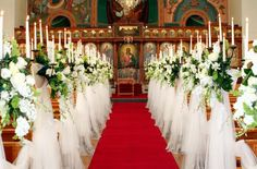 Draping aisle wedding festivities event draping pinterest tall candelabras covered in tulle church aisle decorations by odyssey events junglespirit Images
