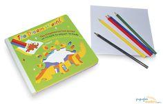 Libro de plantillas para dibujar dinosaurios. Libro que incluye diferentes plantillas para dibujar dinosaurios, elaborado de madera pintada y decorada multicolor.