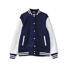 Alma Mater Varsity Jacket Navy/White (165 AUD) ❤ liked on Polyvore featuring varsity jacket