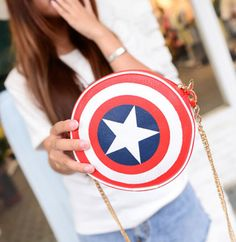 Captain America Round Shield Purse - Visit to grab an amazing super hero shirt now on sale!